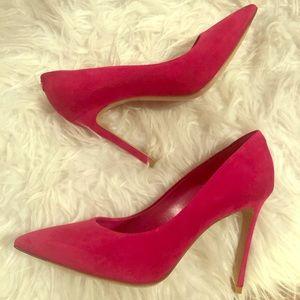 Louis Vuitton pink suede pumps